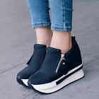 New Womens Students High Platform Wedge Sneakers Heels Casual Shoes Leisure