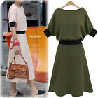 Women's Ladies Chiffon  Short Sleeve Casual Cocktail Party Midi Dress Size 10-18