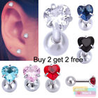 G2B CZ Heart Crystal Tragus Helix Bar Cartilage Ear Surgical Steel Earring Stud