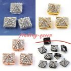 10x Rhinestone Pave Hip Hop Solid Metal Pyramid Bracelet Connector Charms Bead
