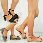 Ladies Womens Flat Espadrilles Bow Slippers Sliders Sandals Summer Shoes Size