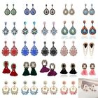 Vintage Women Flowers Crystal Tassel Earrings Jewelry Drop Dangle Eardrop Stud