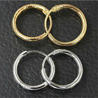 Women 12mm Silver Gold Plated Small Endless Hoop Ear Stud Earrings Round Jewelry