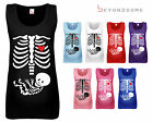 WOMENS HALLOWEEN SKELETON BABY MATERNITY PREGNANCY VEST TANK TOP FUNNY GIFT
