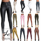 NEW LADIES WOMEN HIGH WAIST LEGGINGS LEATHER LOOK STRETCHY TROUSERS SIZE 6-20