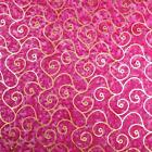 Shiny Metallic Gold Scrolls on Bright Pink Batik Cotton Fabric by Montego Bay