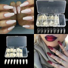 600pcs Elegant Long Ballerina Coffin Shape False Nails Half Cover Tips Nail Care