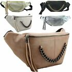 NEW LADIES STYLISH CHAIN TASSEL DETAIL FAUX LEATHER FESTIVAL BUM BAG FANNY PACK