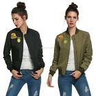Zeagoo Women Classic Biker Slim Jacket Zip Up Short Bomber Jacket Coat EN24H