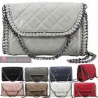 NEW LADIES QUILTED FAUX LEATHER CHAIN TRIM CROSSBODY CLUTCH BAG HANDBAG