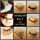Women Chunky Collar Lace Pearl Statement Choker Necklace Pendant Vintage Jewelry