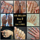Gold Silver Ring Set Vintage Crystal Above Knuckle stacking Band Midi Mid Ring