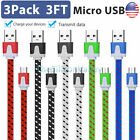 3x 1x Braided Micro USB Data Sync Charger Charging Cable Cord Android Samsung LG