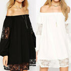 ZANZEA AU 8-24 Women Plus Size Lace Crochet Off Shoulder Short Mini Dress Blouse