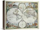 Map of The World by Frederick De Wit True to life Art on Wrapped Canvas