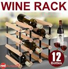 Wine Rack 12 Bottle Timber Wooden Steel Storage Cellar Display Organiser Stand