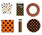 ORANGE & BLACK DOTS HALLOWEEN Party Tableware (Cups/Plates/Napkins) {Unique}