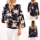 Fashion Women Ladies Floral Loose Shirt Tops Long Sleeve Casual Blouse T-shirt