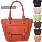 NEW LADIES HIGH QUALITY FAUX LEATHER DOUBLE BUCKLE LARGE TOTE SHOULDER BAG