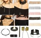 Ladies New Tassel Suede Stud Star Choker Necklace DollzKill Glam Goth Fashion