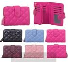 NEW QUILTED FAUX LEATHER TASSEL TRIFOLD ZIP POCKET PICTURE CARD HOLDERS WALLET