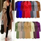 NEW LADIES OPEN CAPE BELTED OVERSIZE LONG DRAPED WATERFALL TRENCH COAT JACKET
