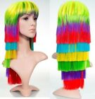 RAINBOW LONG BLUNT LAYERED WITH FRINGE FULL HEAD PARTY COSTUME MULTICOLOUR WIG