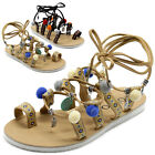 ollio Women's Shoes Lace Up Ethnic Gladiator Ghille Toe Ring Flats Sandal