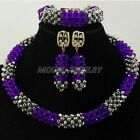 Purple Silver Unique Crsytal Beads Jewelry Set Nigerian Wedding Bridal Gift Bead