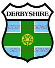DERBYSHIRE SHIELD COUNTY FLAG  -  DECAL PRINTED STICKER (CHOICE OF SIZES)