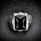 Men's Silver Stainless Steel Black Baguette Onyx Wedding Biker Ring Band Jewelry