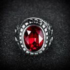 Promise Mens Red Garnet Ruby Stainless Steel Large Wedding Ring Band Jewelry