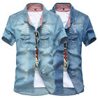 Mens Trendy Washed Torn Ripped Short Sleeve Demin Jeans Jacket Coat Outwear D260