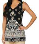 NEW SUSAN GRAVER Border Printed Liquid Knit Sleeveless V-Neck Top 261925