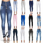 Womens Ladies High Waisted Skinny Fit Jeans Stretch Jegging Trousers Size 6-22