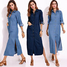 ZANZEA Women Plus Size Long Sleeve Denim Blue Button Down Maxi Long Shirt Dress