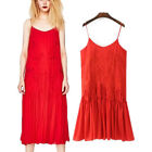 Womens Spaghatti Strap Floral Embroidered Midi Long Swing Dress Beach Sundress
