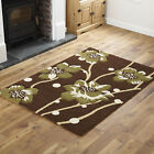 LARGE SMALL LOW COST CHOCOLATE GREEN FLOWERY DESIGN MODERN QUALITY RUG & RUNNER