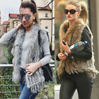 100% Knitted Farm Real Rex Rabbit Fur Waistcoat Chic Present Vest Gilet Outfit