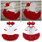 My First Christmas Infant Baby Girls Santa Romper Jumpsuit Tutu Skirt Dress Up
