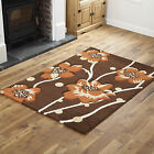FLOWERY DESIGN LOW COST LARGE SMALL BROWN TERRACOTTA MODERN QUALITY RUG & RUNNER