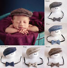 Baby Newborn Peaked Beanie Cap Hat+Bow Tie Photo Photography Prop Outfit Set US
