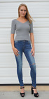 Grey Double V Neck Ribbed Sweater Top S M L NWT by Active Basic USA T2460