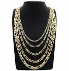 Mens 18K Stamped Gold Plated 4mm To 8mm Figaro Link Necklace Chain 24 30 36 Inch