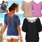 Fashion Loose Short Sleeve Casual Lace Tops Blouse Summer Cotton Women T-Shirts