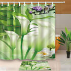Floral Decor Shower curtian set Calla Lily With Bamboo Buddhism Bathroom Curtain