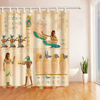 Egyptian art of human engraved Fabric Shower Curtian Set With Hooks Home Decor