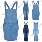 New Womens Strappy Stone Wash Faded Long Denim Dungaree Pinafore Dress Jumpsuit