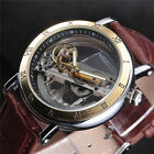 Luxury New Style Mens Leather Strap Transparent Watch Automatic Mechanical Roman