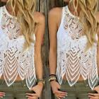 Women Lace Vest Summer Beach Party Crochet Vest TankTop Casual Sleeveless Blouse